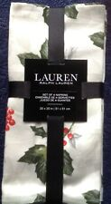 BNWT RALPH LAUREN HOME SET OF 4 NAPKINS. HOLLY & BERRIES,PINE LEAVES 100% COTTON