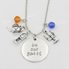 """Beauty and the Beast Necklace """" be our guest """" Maxi Collier Femme Kolye Movie"""
