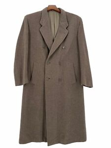 "MANI Giorgio Armani  Mens Brown Wool Button Down Full Length Coat Size 50"" Chest"