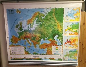 1997 Nystrom Custom 4-layer Europe & N/S America Pulldown Topographic Map -Used