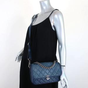 Chanel 16B CC Messenger Bag Blue Quilted & Grained Leather Flap Shoulder Bag
