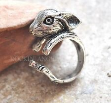 Antique Silver Plt Dwarf Rabbit Bunny Ring  / Thumb Ring Adjustable Ladies Gift
