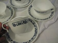 12 pc VINTAGE CORELLE  HOOK CUPS & SAUCERS  OLD TOWN BLUE ONION  USA