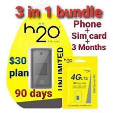 H2O Wireless Unlocked Flip Phone + Sim Card + 3 months Service