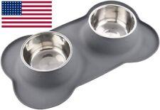 Large Dog Bowls & Mat Set, 2 Large Bowls Capacity 54oz Food & Water Bowls