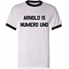 CUSTOMISABLE ARNOLD IS NUMERO UNO RINGER T-SHIRT (Your Name Schwarzenegger)