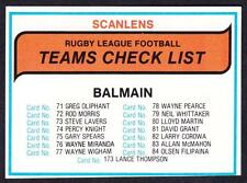 SCANLENS 1980 BALMAIN CHECK LIST UNMARKED
