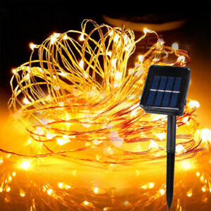 100-200LED Solar Power Fairy Light String Lamp Party Garden Outdoor Wire Garland