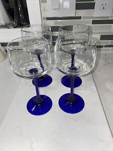 "Set of 4 VTG French Cobalt Blue Stemmed Flutes Wine Glasses  7"" Tall"