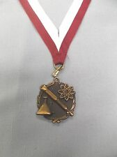 """gold science medal 1 1/2"""" dia maroon and white neck drape"""