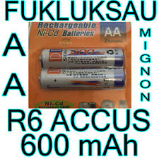 2 x PILES AA | PILES ACCUS RECHARGEABLE MIGNON 600mAh Ni-Cd 1,2V R6 LR06 NEW