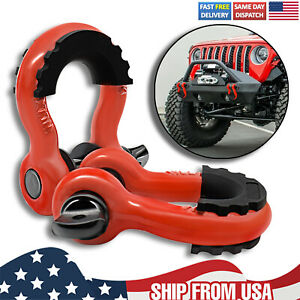 2X Trailer Bow Shackle Heavy Duty Tow Hook D-Ring With antislip Isolator Washer