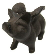 Fun Small Miniature Rustic Primitive Cast Iron Flying Angel Piggy Pig
