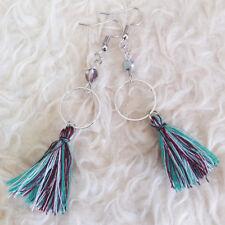 Multi-Color Tassels Dangle Hook Earrings Womens Bohemian Hippy Silver-Tone Ring
