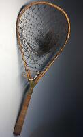 """Vintage Folding Wicker & Wood Fishing Net """"The Barnesfold"""" Fisherman Tool Gear"""
