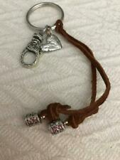 Sundance Catalog heart with decorative large hook and leather tie key ring