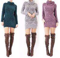 Women's Ladies Soft Melange Cable Knit Cowl Neck Tunic Mini Dress