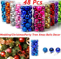 48Pcs Christmas Tree Xmas Ball Baubles Hanging Party Ornament Wedding Decor hi