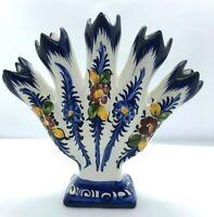 Portugal Portuguese Alcobaca Pottery 5 Five Finger Ceramic Bud Vase Cobalt