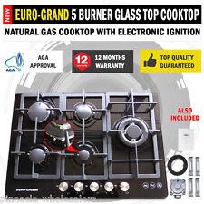 NEW 75cm Black Glass Top 5 Burner Gas Wok Burner Hob Cast Iron Cooktops