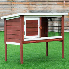Wooden Rabbit Hutch Chicken Coop Bunny Small Animal Cage House Auburn w/ Tray