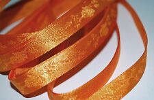*** TANGERINE PATTERNED - SATIN -  Ribbon - 10mm Wide **