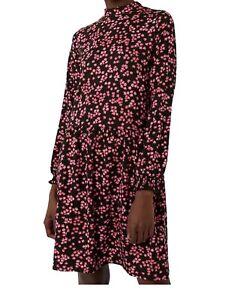 BNWT WAREHOUSE black pink ditsy floral print smock jersey tea dress size 8 £39