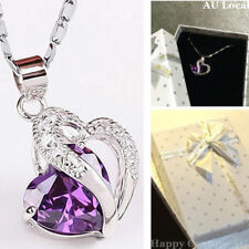 Silver Plated Necklace Amethyst Violet Heart Pendant With Gift Box JNECK1102