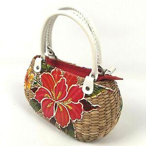 Emma Rose Floral Wicker Satchel Bag Zip Closure Woven Natural Beaded Purse