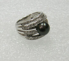 STERLING SILVER 64 DIAMOND MULTI BAND PEACOCK PEARL RING SIZE 8 194-M