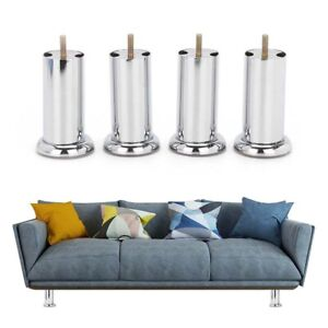4x METAL CHROME M8 LEGS FURNITURE FEET SOFA BEDS CHAIRS STOOLS CABINET 120mm