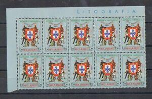 MOÇAMBIQUE - 1956  2$50 VIAGEM PRESIDENCIAL. BLOCO DE 10, MNH