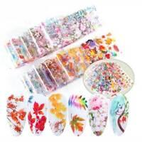 10Pcs/set Nail Foil Stickers Colorful Flower Transfer Decals Nail Art Decoration