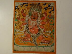 ANTIQUE MONGOLIAN BUDDHIST THANGKA PAINTING OF A HAYAGRIVA