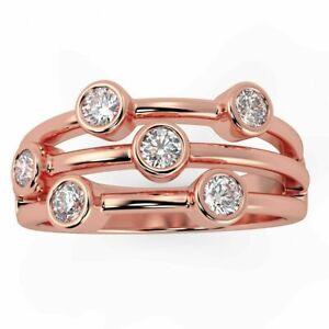 IGI 0.60ct Bezel Set Round Diamond Designer Bubble Ring in 18k Rose Gold