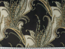 Drapery Upholstery Fabric Lg. Scale Floral Paisley Design on Velvet - Charcoal