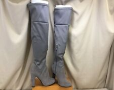 "Gray Stretch Nylon Faux Suede Thigh High 4"" Heel Above Knee Boots Women's SZ 6"