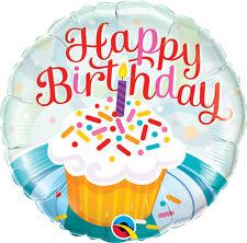 "BIRTHDAY BALLOON 18"" BIRTHDAY PARTY SUPPLIES CUPCAKE & SPRINKLES FOIL BALLOON"
