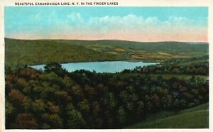 Finger Lakes, NY, Canandaigua Lake, White Border Vintage Postcard a1549
