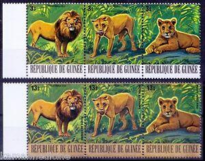 Lion, Guinea 1977 MNH Strip of 3v x2, Silver & Gold Colour Strip, Wild Animals