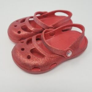 Baby Girl's Crocs Mary Jane Red Glitter Flats Size 6