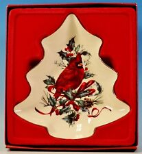 "Lenox Winter Greetings Tree Candy Dish Cardinal & Holly 7"" Nib"