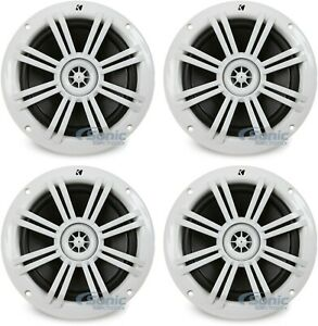 "4) Kicker 41KM604W 6.5"" 4-Ohm Marine/Boat Waterproof Audio Speakers White"