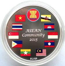 Cambodia 2015 ASEAN Community 3000 Riels 1oz Silver Coin,Proof