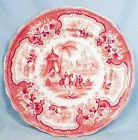 Antique Palestine Transferware Plate Wm Adams Pink & White Transfer Ware