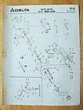 Original Delta 1411 Wood Lathe 46 111 46 150 Illustrated Parts List Wl 2a