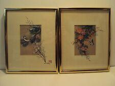 2 Original J Cheng /John Cheng Watercolor Paintings Listed Artist Butterfly Bird
