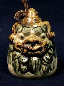 Japanese Clay Bell Dorei Okinawan Shisa Foo Lion Dog Head Vtg Pottery Doll