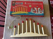 8-LIGHT CANDOLIER VINTAGE CHRISTMAS DECOR, NOMA LITES WORKS W/ ORIGINAL BOX