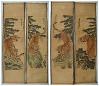 "CHINESE ANCIENT HANGING PAINTING SCROLL/""calligraphy/"" SCREEN OF 4PCS"